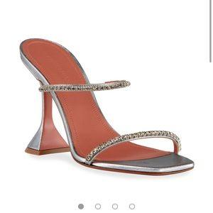 NEW NIB Amina Muaddi Gilda 95mm Metallic Heels 8